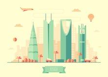 Riyadh skyline vector illustration flat design Stock Photography
