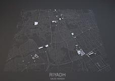 Riyadh straten en gebouwen 3d kaart, Saudi-Arabië Royalty-vrije Stock Afbeelding