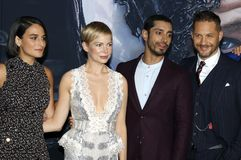 Riz Ahmed, Reid Scott, Tom Hardy and Michelle Williams stock photography