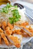 Riz appétissant de poulet de friture de la Thaïlande Photos libres de droits