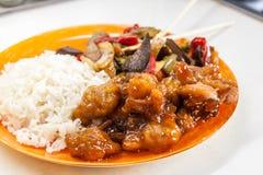 Riz asiatique avec le poulet et les légumes dans le teriyaki de la sauce aigre-doux Photos libres de droits