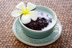 Riz au lait collant noir avec de la crème de noix de coco, dessert thaïlandais photographie stock libre de droits