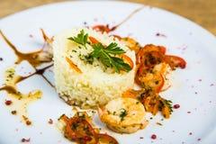 Riz avec des crevettes Image stock