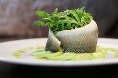 Riz avec des poissons et des aubergines Photo libre de droits