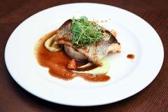 Riz avec des poissons et des aubergines Image stock