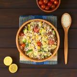 Riz avec l'hachis de fruits secs et les légumes Image libre de droits