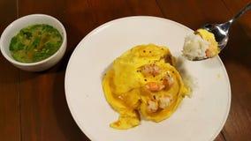 riz avec l'omelette crémeuse Photos libres de droits