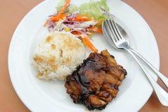 Riz avec le bifteck de poulet Images libres de droits