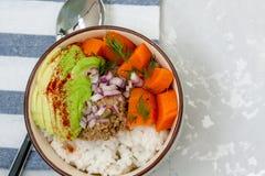 Riz avec le pâté de patates douces, de viande et de légume Image stock
