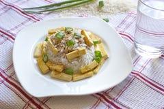 Riz basmati avec les morceaux rôtis de tofu Images stock