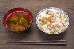 Riz bouilli par Japonais Photographie stock