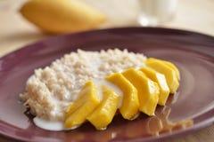 Riz collant avec la mangue thaïlandaise coupée en tranches Photos stock