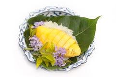 Riz collant de mangue thaïe de dessert Photo stock