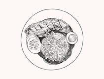 Riz croustillant de ventre de porc Vecteur de croquis d'aspiration de main de vue supérieure illustration stock