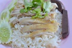 Riz cuit à la vapeur avec du potage de poulet Photographie stock libre de droits