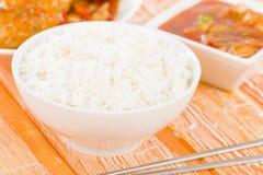 Riz cuit à la vapeur chinois Photos libres de droits