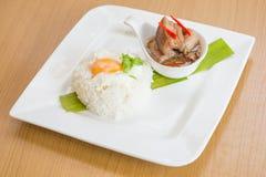 Riz d'oeufs de soupe à Stew Pork Photo stock