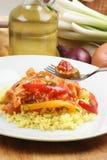 Riz de cari avec le poulet doux et aigre photo stock