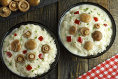 Riz de champignon de chapeau de lait de safran avec de la sauce au vin blanche Photographie stock libre de droits