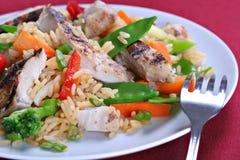 Riz de friture de Stir de poulet Photos stock