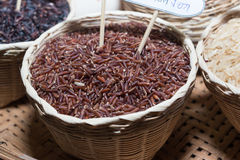 Riz de jasmin, riz brun de riz brut Photos libres de droits