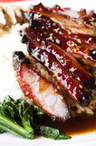 Riz de nervures de porc de barbecue Photo stock