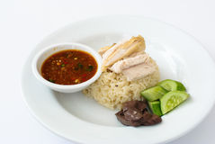 Riz de poulet de Hainanese Photos stock