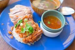 Riz de poulet, poulet frit et poulet d'ébullition avec du riz Photographie stock