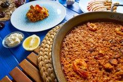 Riz de senyoret de Paella de fruits de mer d'Espagne Image stock