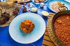 Riz de senyoret de Paella de fruits de mer d'Espagne Photographie stock libre de droits