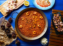 Riz de senyoret de Paella de fruits de mer d'Espagne Images stock