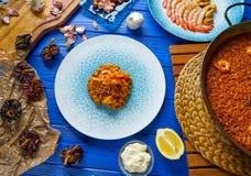 Riz de senyoret de Paella de fruits de mer d'Espagne Photos libres de droits