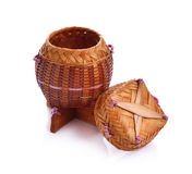 Riz en bois en bambou de Kratib d'appel de boîte à riz en Thaïlande Images libres de droits