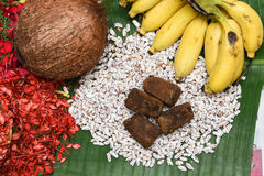 Riz et noix de coco soufflés pour l'Inde du Kerala de festival d'Onam Photos libres de droits