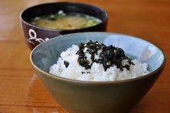 Riz et potage de miso Photo stock
