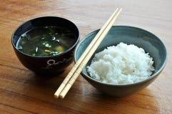 Riz et potage de miso Photos stock