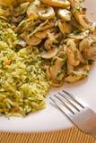 Riz et repas de champignons de couche Photographie stock libre de droits
