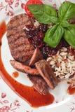 Riz et sauce à la canneberge grillés d'esprit de bifteck Image stock