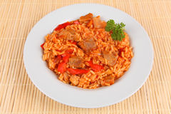 Riz et viande Image stock