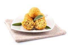 Riz et viande d'Arancini Photos stock