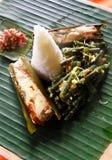 riz ethnique de nourriture de poissons de paraboloïde asiatique images libres de droits