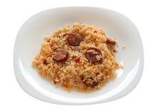 Riz frit avec des saucisses Images libres de droits