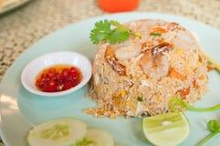 Riz frit avec la crevette Image stock
