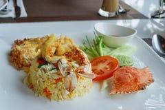 Riz frit avec la vue horizontale de crabe, d'oeufs et de légumes de ci-dessus au style thaïlandais photo stock