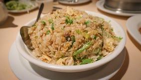 Riz frit avec les poissons salés Image libre de droits