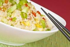 Riz frit d'oeufs et de jambon Photo stock