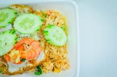 Riz frit de crevette délicieuse, riz frit d'Asiatique Images libres de droits