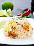 Riz frit de saumons Photographie stock