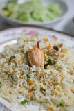 Riz frit thaïlandais avec la chair de crabe Photos libres de droits