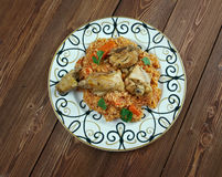 Riz gras  poulet Stock Images